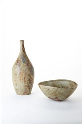 Stoneware bottle and altered bowl
