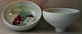 2 footed porcelain bowls, incised sides by Norman Yap, Ceramics, Porcelain