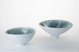2 porcelain bowls with blue green glazes by Norman Yap, MSDC, Ceramics, Porcelain