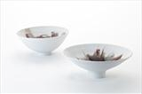 2 porcelain bowls with brushed red glaze by Norman Yap, MSDC, Ceramics, Porcelain